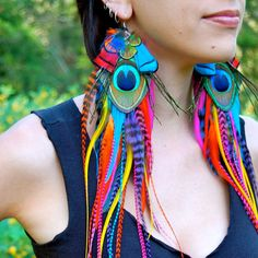 WOW! IRIS Super Long Feather Earrings by FeatherPixie on Etsy, $69.00