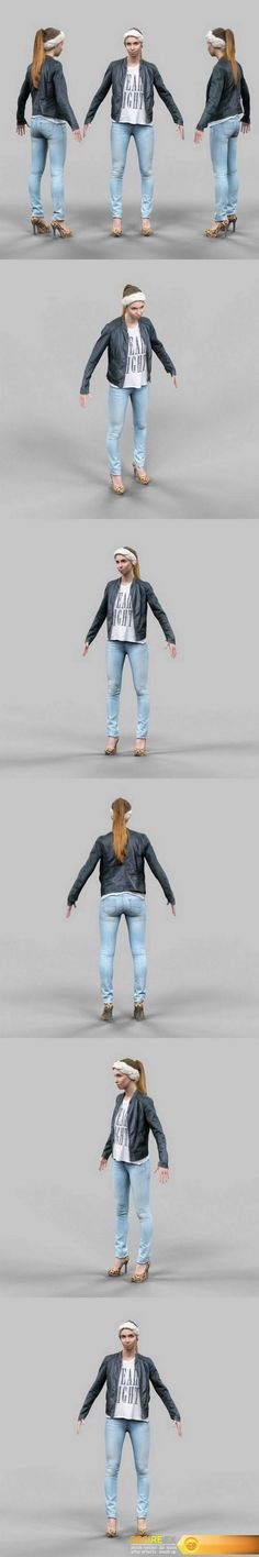 Cute girl in jeans leather jacket and bandana A-Pose VR AR low-poly 3D model    #Cute #girl #jeans#leather #jacket #bandana #A_Pose #VR #AR #low_poly #3D #model    http://www.desirefx.me/cute-girl-in-jeans-leather-jacket-and-bandana-a-pose-vr-ar-low-poly-3d-model/
