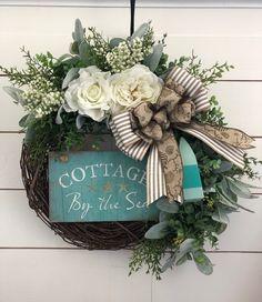 Wreath Stand, Wreath Hanger, Eucalyptus Wreath, Year Round Wreath, Lambs Ear, Cottages By The Sea, Coastal Farmhouse, Wreaths, Wired Ribbon