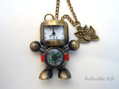 Antique brass robot compass pocket watch necklace,with owl pendant