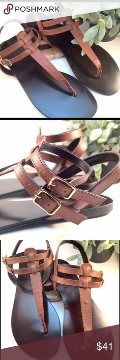"""J. Crew Italian Leather Thong Sandals - NWOT --Orig: $98 --Size: 8 --100% Leather upper and sole --Rich pecan brown leather thong sandals with double straps -- Made in Italy -- In new, unworn condition --From heel to toe - 10"""" ~~From my smoke free, pet friendly home~~ J. Crew Shoes Sandals"""