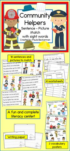 Do you need a literacy component for your community helpers unit? Check out… Kindergarten Reading Activities, Kindergarten Social Studies, Reading Resources, Literacy Activities, Literacy Centers, Creative Teaching, Teaching Ideas, People Who Help Us, Reading Centers