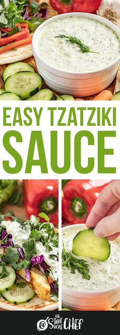 Easy Tzatziki sauce is light, creamy, and full of bright flavors, making it a versatile sauce. You can use it as a dipping sauce for breads or vegetables, on gyros, or as a condiment. You'll be amazed at how quickly this recipe comes together. #tzatzikisauce Authentic Tzatziki Sauce Recipe, Homemade Tzatziki Sauce, Tzatziki Recipes, Sauce Recipes, Crockpot Recipes, Cooking Recipes, Recipes Appetizers And Snacks, Healthy Dinner Recipes, Desserts
