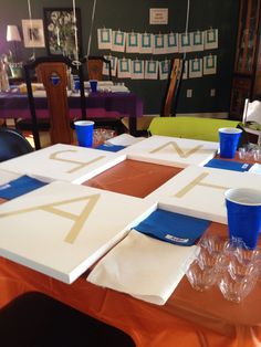 The set up 'before' the kids arrived to paint for our Rainbow Art Party