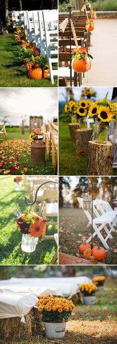fall wedding ceremony aisle decoration ideas