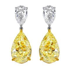 Natural 16.12 Carats of Yellow Diamond Drop Earrings | From a unique collection of vintage drop earrings at http://www.1stdibs.com/jewelry/earrings/drop-earrings/