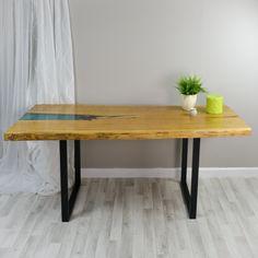 Unique live egde oak resin glacier dining table on steel legs by Frances Bradley