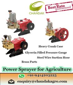 chandakagro is leading manufacturer and supplier of Power Sprayer - Spray Pump, Agricultural Sprayer offered by Chandak Agro Equipments in Rajasthan Mini Tiller, Power Sprayer, Spray Hose, Car Washer, Pressure Gauge, Washers, Battery Operated, Agriculture