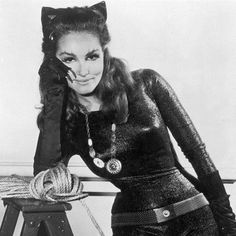 Julie Newmar as Catwoman in the Batman television series airing on the ABC network for three seasons from January 12, 1966 to March 14, 1968.  My favorite of all Catwoman actress incarnations; I met her at a comic book convention, got her autograph and a few moments to chat.  A true sweetheart to her fans - love her!
