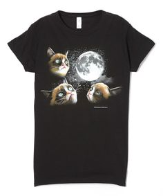 Look at this Black Grumpy Cat Moon Tee - Women on #zulily today!