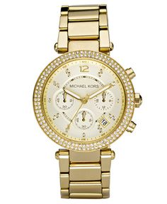 Michael Kors Women's Chronograph Parker Gold Ion Plated Stainless Steel Bracelet Watch 39mm MK5354