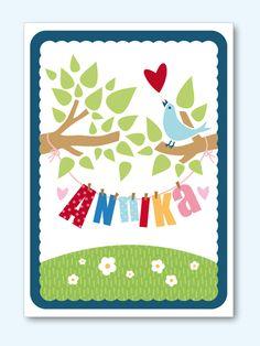 Baby- & Geburtskarten - Karte zur Geburt oder Taufe 01 - ein Designerstück von Liebesdienst bei DaWanda