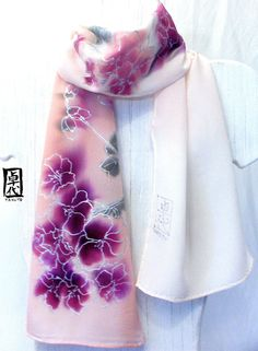 Hand Painted Pink Silk Scarf Spring Pastel by SilkScarvesTakuyo, $80.00