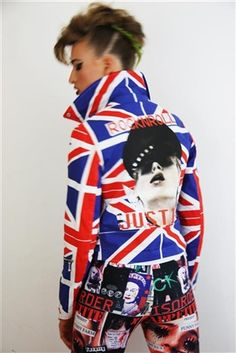 Highest quality heat transfer on back of this Union Jack biker with Swarovski diamante detail. iT ROCKS HARD!!!