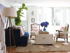Living Room Decor : We love the blue sofa in this trendy living room! More living room designs: www. My Living Room, Home And Living, Living Room Decor, Clean Living, Cozy Living, Modern Living, Beautiful Living Rooms, Living Room Inspiration, Decoration