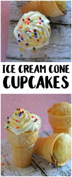 Homemade cupcakes are so delicious and easy, but they can get messy too. These cute Ice Cream Cone Cupcakes have a built-in holder and are so yummy! Baking Cupcakes, Cupcake Recipes, Snack Recipes, Dessert Recipes, Desserts, Birthday Cakes For Teens, Birthday Cupcakes, Cupcake Party, Cupcake Cones