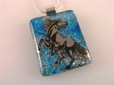 Unicorn Necklace Dichroic Unicorn Pendant Fused by AngelasArtGlass