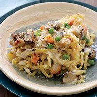 Rachael Ray's Turkey Tetrazzini---left over turkey, frozen peas & carrots, fresh mushrooms (I used half), linguine, chicken broth, fresh thyme (1 tsp ground)--- I doubled the recipe and it fit perfectly in a 9X13 pan. (3/4 lb. of turkey is about 2 cups)