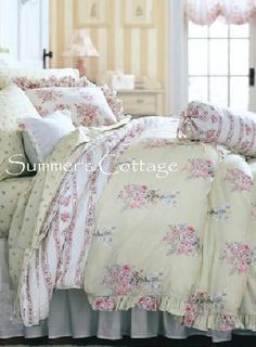 Shabby Chic Queen Comforter Sets | QUEEN RACHEL ASHWELL SIMPLY SHABBY CHIC PINK ROSES DUVET COMFORTER ...
