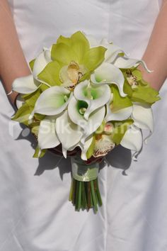 Vibrant Artificial Fresh Touch Apple Green Cymbidium Orchid Bridal Bouquet w/ Calla Lilies