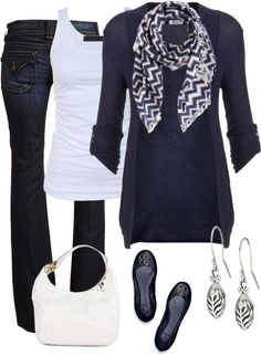 Navy blue and white, with silver accessories