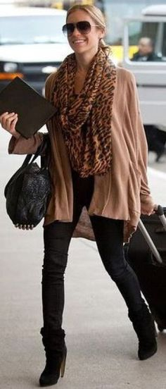 Black booties, black skinny jeans, oversized brown sweater, leopard scarf: