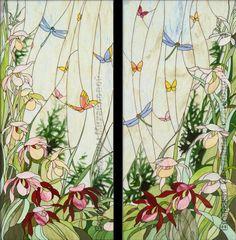 """Витраж """"Ирисы и бабочки"""""""