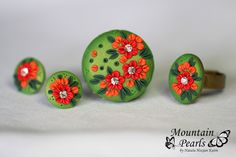 Polymer clay stud earrings, brooch and ring, filigree technique | by mountain.pearls