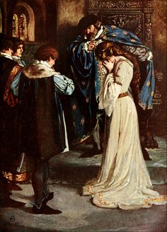 """11.  """"King, 'Why, then, young Bertram take her; she's thy wife.'""""  (ALL'S WELL THAT ENDS WELL — Act II. Scene 3)   ——     Norman Price Illustrations: Tales from Shakespeare"""