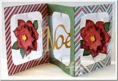 Frances Byrne using the Sizzix Accordion Album, Frame & Label Bracket and Noel Sizzlits Set.