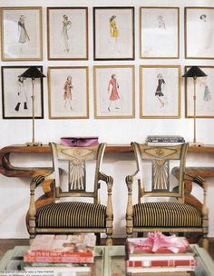 This symmetrically hung grouping of fashion design sketches would work in any space that needs a feminine touch. The frames are all of equal proportion, but the different finishes add interest and would allow the grouping to blend with an array of styles. Is there a fashionista in your life who would love these?