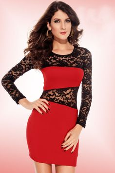 Amanda Lace Insert Dress Red