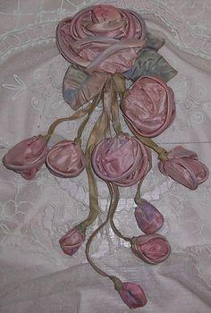 Large ANTIQUE Silk RIBBON Roses Bouquet/Applique...Gown/Dress Decoration