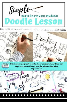 This art lesson is perfect for the first day of school or as a sketchbook or visual journal assignme Doodle Drawings, Doodle Sketch, Doodle Art, Contour Drawings, Doodle Ideas, Drawing Faces, School Icebreakers, Icebreaker Activities, High School Art