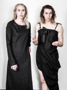 Unisex fashion, LAURIJARVINENSTUDIO Eco Friendly Fashion, Unisex Fashion, Black Fabric, That Look, Cold Shoulder Dress, Unique, Collection, Dresses, Style