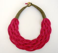Braided Necklace Statement Fiber Necklace by superlittlecute