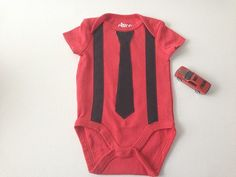 Red Baby Bodysuit Bodysuit with Tie Baby One-Piece by 2Fun4Words