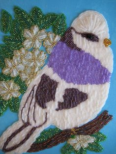 Wall Art, Bead embroidered picture, my Purple Bird by SerenityCollections on Etsy