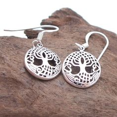 Pretty Rare Celtic Tree of Life .925 Silver Earrings | eBay