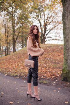 Big Sweater Faux Leather Trousers Valentino Heels  Valentino Va Va Voom Bag.