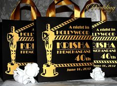 20 Hollywood Birthday Gift Bags with Oscar gold ribbon and