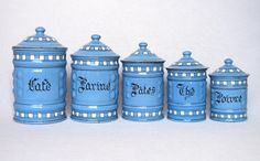 Striking Vintage French Graniteware Kitchen Canister Set from the late 1800s - early 1900s by Yesterdaysfrance on Etsy https://www.etsy.com/listing/230230904/striking-vintage-french-graniteware