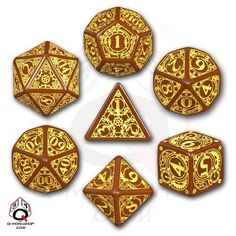 Q-Workshop Polyhedral 7-Die Set: Carved Steampunk Dice Set (Brown & Yellow) #QWorkshop