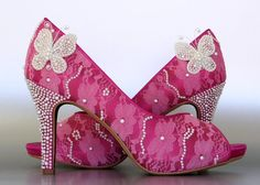 Wedding Shoes -- Fuschia Pink Peep Toe Wedding Shoes with Lace Overlay, Pearl Butterflies and Pearl Accents