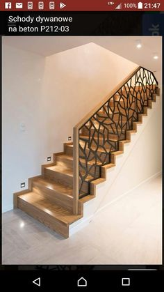Pin on schody Home Stairs Design, Balcony Railing Design, Home Building Design, Dream Home Design, Home Interior Design, Modern Stair Railing, Staircase Handrail, House Staircase, Modern Stairs