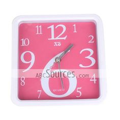 China Wholesale Fashion Pink Home Simple Round Wall Clock, 66097