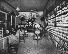 Interior of Heslop's Phonograph Depot, 1907 Radios, Talking Machines, Phonograph, Document, Retro Futurism, Photo Wall, Frame, Interior, Photos