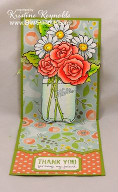 Floral Pop-Up Card (Site: photos & product list) (NTS: card created using a Stampendous pop-up die) Flip Cards, Fun Fold Cards, Pop Up Cards, Love Cards, Folded Cards, Card Making Inspiration, Making Ideas, Mason Jar Cards, Mason Jars