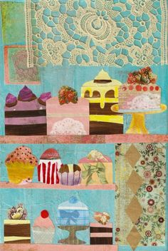Mixed Media Collage The Patisserie by Shelby Healey. home sweet home idea Mixed Media Collage, Mixed Media Canvas, Collage Art, City Collage, Art Journal Pages, Art Journals, Art Texture, Art Graphique, Art Journal Inspiration