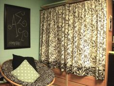 Cute curtains take dorm room furniture from shabby to chic and make them look brand new!